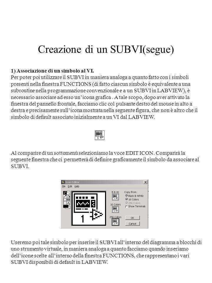 Creazione di un SUBVI(segue) 1) Associazione di un simbolo al VI. Per poter poi utilizzare il SUBVI in maniera analoga a quanto fatto con i simboli pr