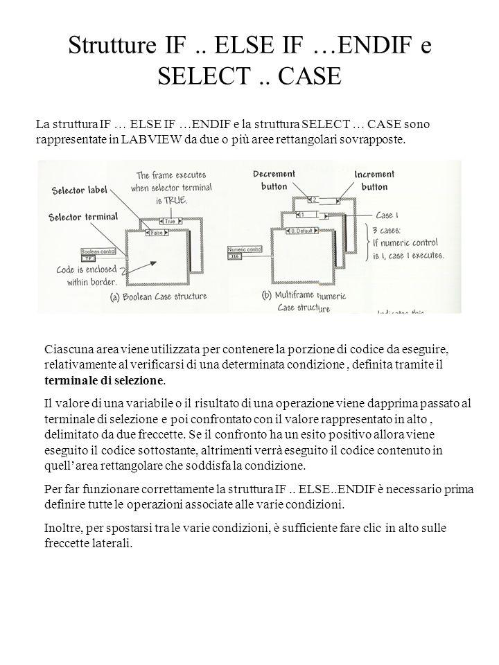 Strutture IF.. ELSE IF …ENDIF e SELECT.. CASE La struttura IF … ELSE IF …ENDIF e la struttura SELECT … CASE sono rappresentate in LABVIEW da due o più
