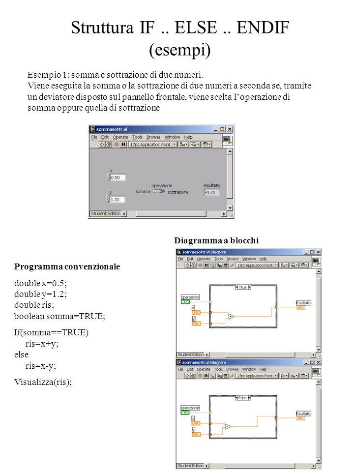Struttura IF.. ELSE.. ENDIF (esempi) Esempio 1: somma e sottrazione di due numeri. Viene eseguita la somma o la sottrazione di due numeri a seconda se