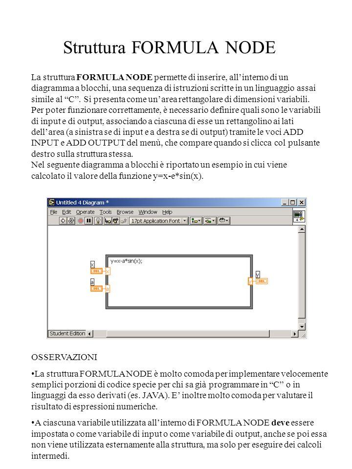 Struttura FORMULA NODE La struttura FORMULA NODE permette di inserire, all'interno di un diagramma a blocchi, una sequenza di istruzioni scritte in un