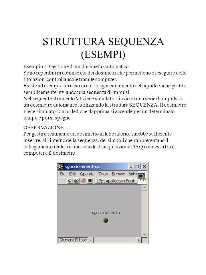 STRUTTURA SEQUENZA (ESEMPI) Esempio 1: Gestione di un dosimetro automatico Sono reperibili in commercio dei dosimetri che permettono di eseguire delle