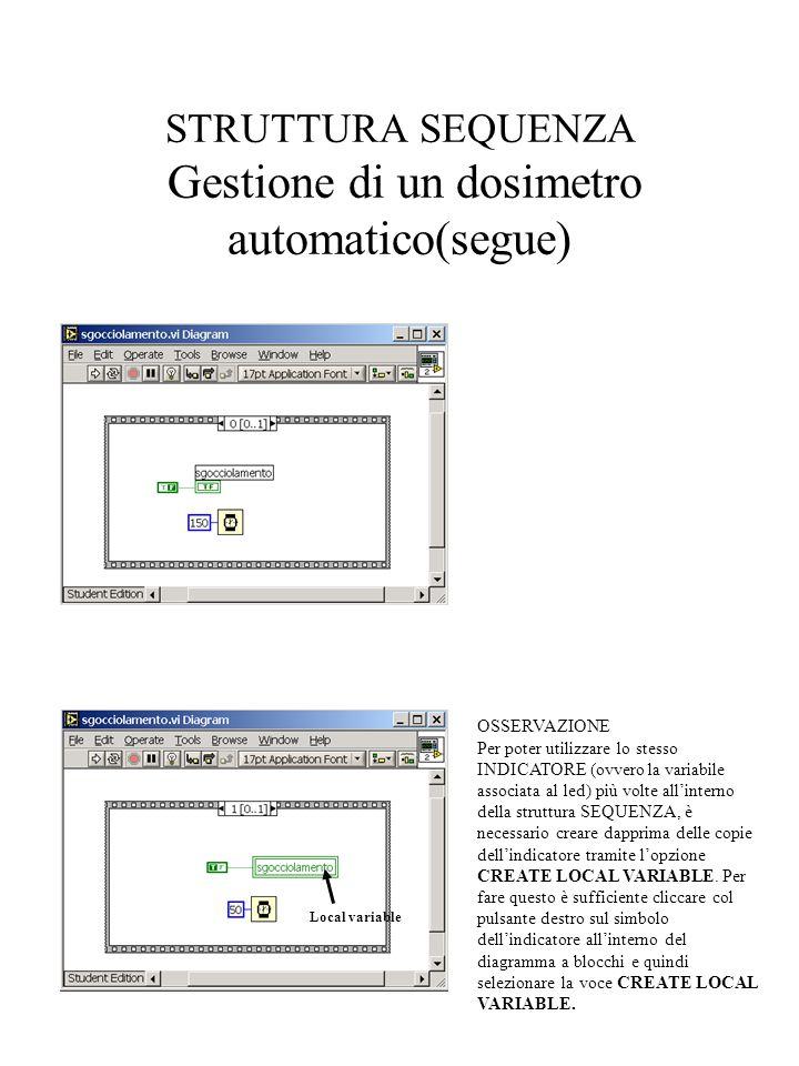 STRUTTURA SEQUENZA Gestione di un dosimetro automatico(segue) Local variable OSSERVAZIONE Per poter utilizzare lo stesso INDICATORE (ovvero la variabi