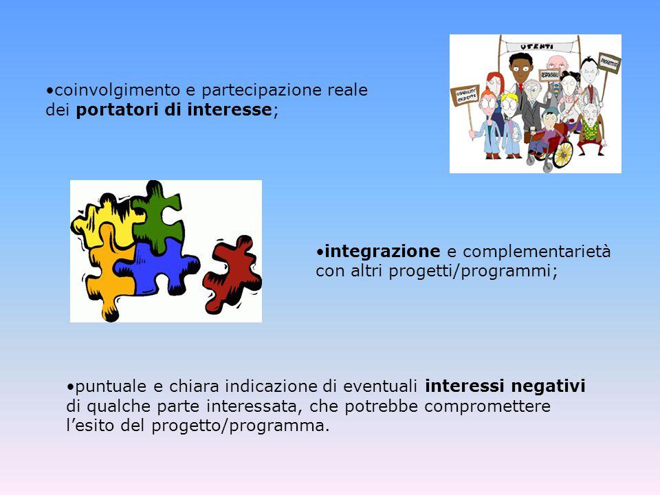 puntuale e chiara indicazione di eventuali interessi negativi di qualche parte interessata, che potrebbe compromettere l'esito del progetto/programma.