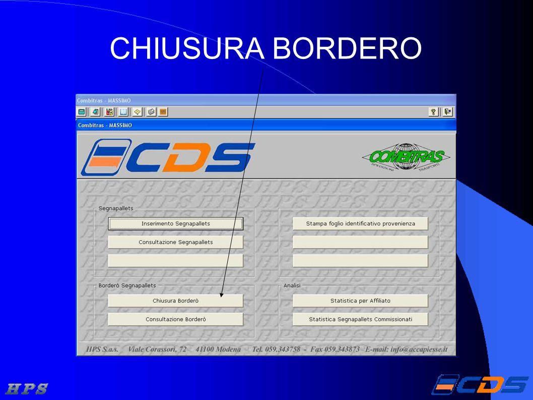 CHIUSURA BORDERO