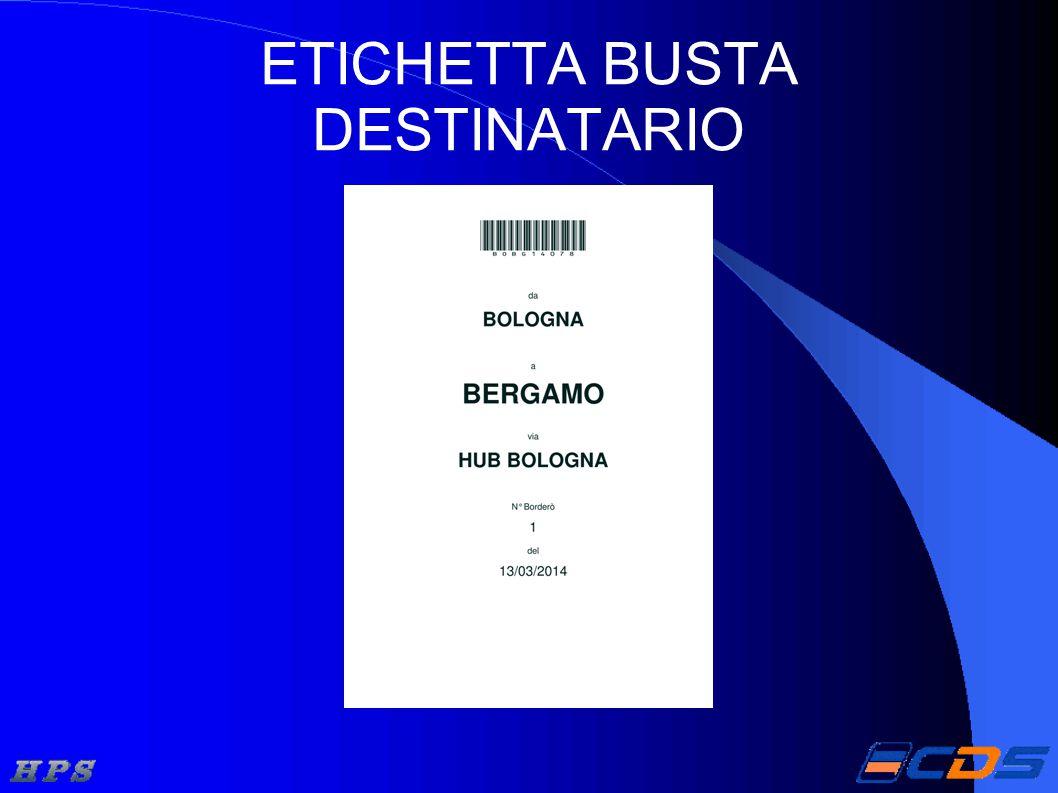 ETICHETTA BUSTA DESTINATARIO