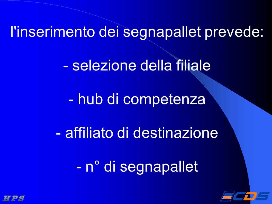 l inserimento dei segnapallet prevede: - selezione della filiale - hub di competenza - affiliato di destinazione - n° di segnapallet