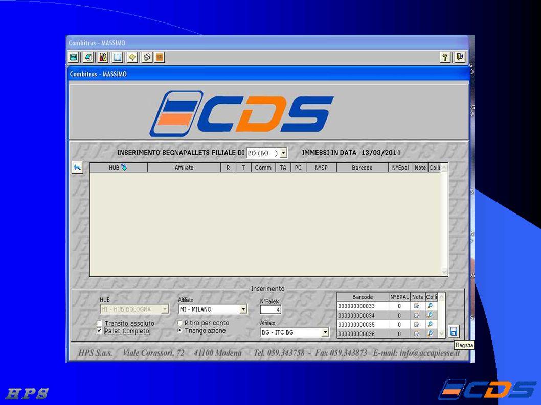 sarà possibile: - ristampare il segnapallet - inserire/variare il n° di EPAL - inserire/variare le note e il barcode dei singoli colli.
