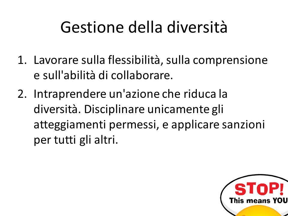Gestione della diversità 1.Lavorare sulla flessibilità, sulla comprensione e sull abilità di collaborare.