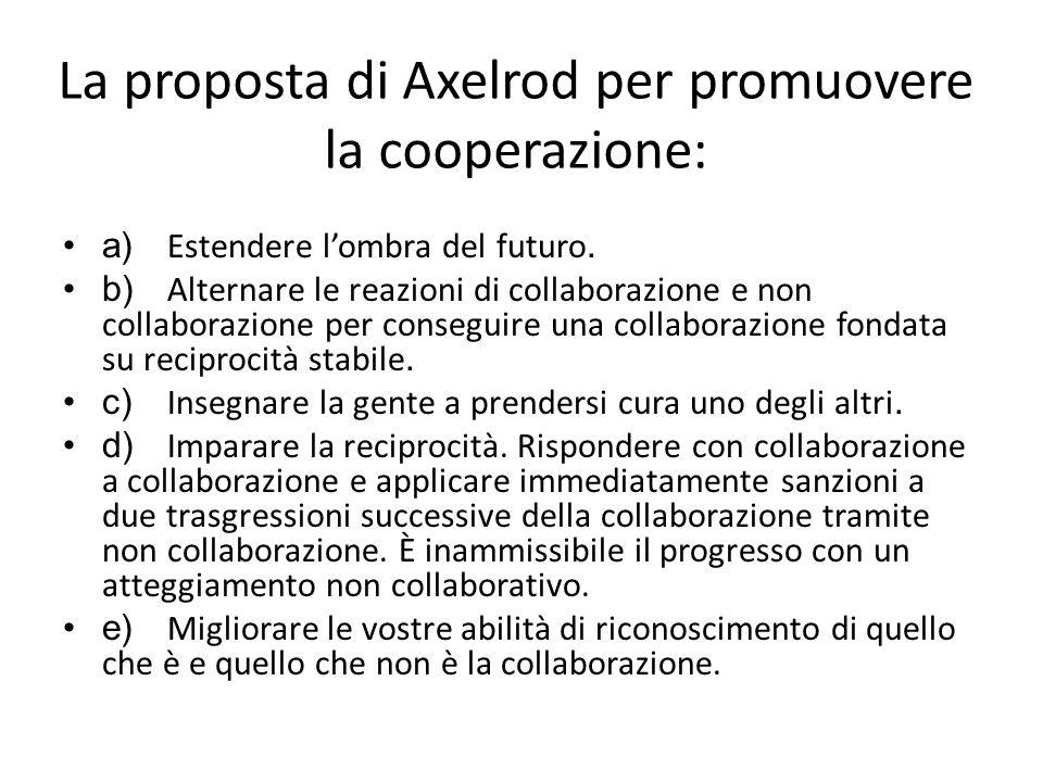 La proposta di Axelrod per promuovere la cooperazione: a)Estendere l'ombra del futuro.