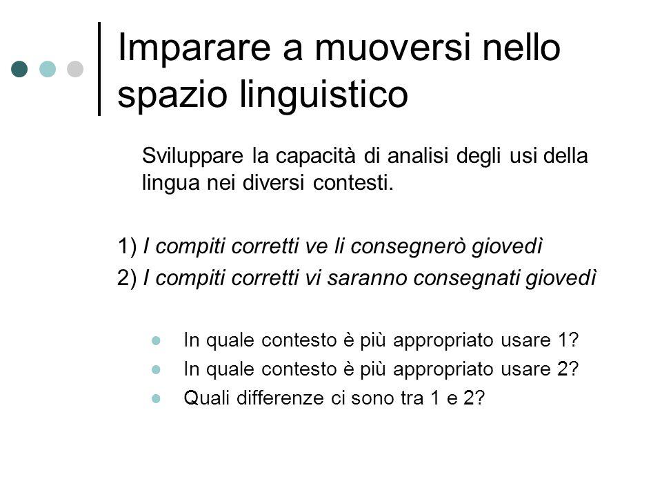 Imparare a muoversi nello spazio linguistico Sviluppare la capacità di analisi degli usi della lingua nei diversi contesti.