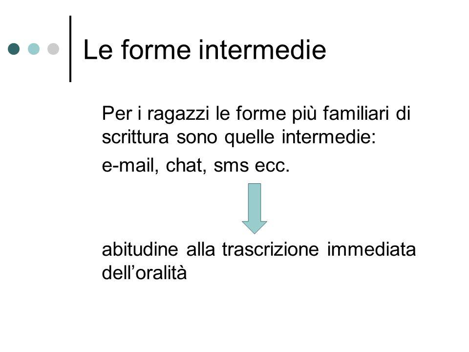 Le forme intermedie Per i ragazzi le forme più familiari di scrittura sono quelle intermedie: e-mail, chat, sms ecc.