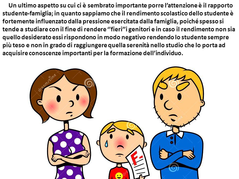 Un ultimo aspetto su cui ci è sembrato importante porre l'attenzione è il rapporto studente-famiglia; in quanto sappiamo che il rendimento scolastico