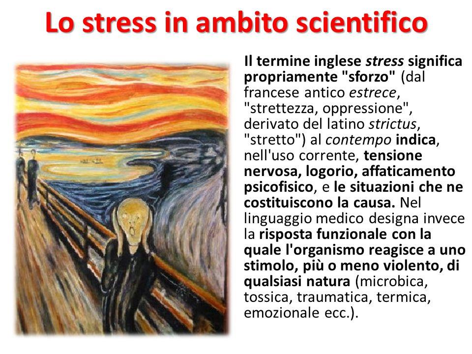 Lo stress in ambito scientifico Il termine inglese stress significa propriamente