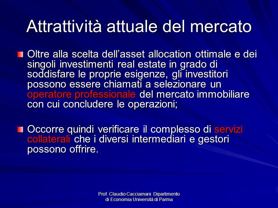 Prof. Claudio Cacciamani Dipartimento di Economia Università di Parma Attrattività attuale del mercato Oltre alla scelta dell'asset allocation ottimal