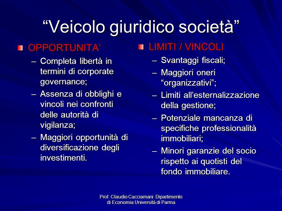 """Prof. Claudio Cacciamani Dipartimento di Economia Università di Parma """"Veicolo giuridico società"""" OPPORTUNITA' –Completa libertà in termini di corpora"""