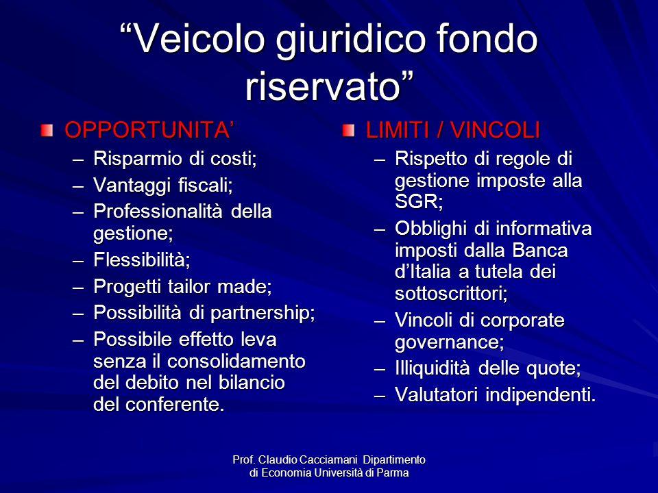 """Prof. Claudio Cacciamani Dipartimento di Economia Università di Parma """"Veicolo giuridico fondo riservato"""" OPPORTUNITA' –Risparmio di costi; –Vantaggi"""