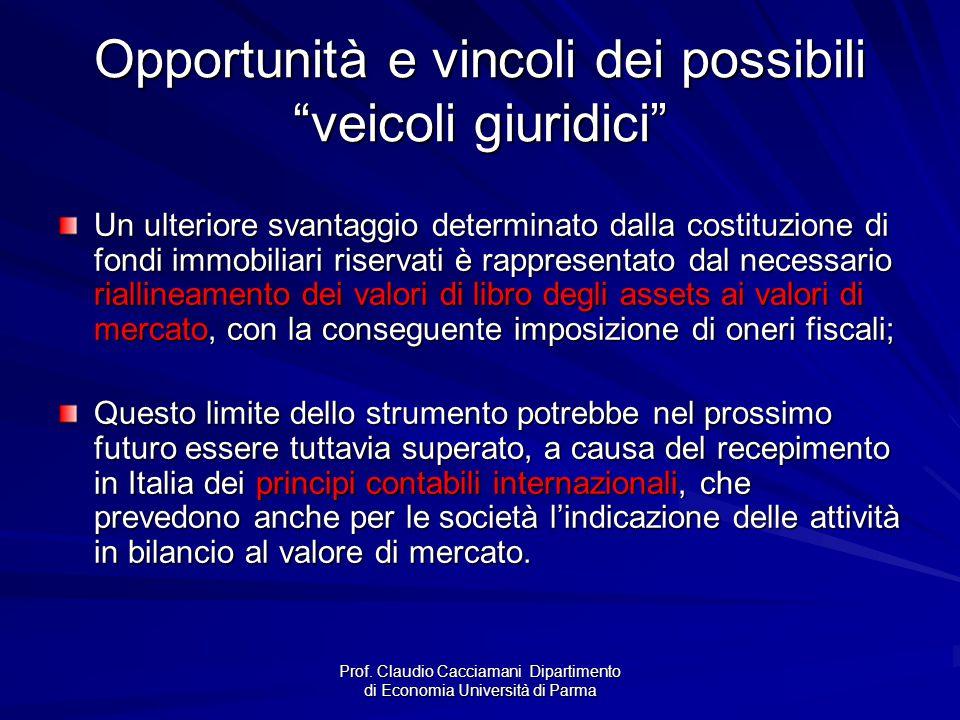 """Prof. Claudio Cacciamani Dipartimento di Economia Università di Parma Opportunità e vincoli dei possibili """"veicoli giuridici"""" Un ulteriore svantaggio"""
