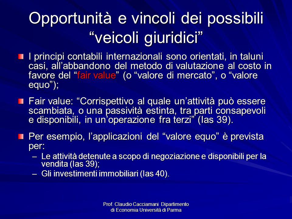 """Prof. Claudio Cacciamani Dipartimento di Economia Università di Parma Opportunità e vincoli dei possibili """"veicoli giuridici"""" I principi contabili int"""