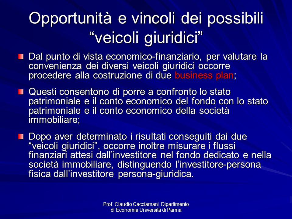 """Prof. Claudio Cacciamani Dipartimento di Economia Università di Parma Opportunità e vincoli dei possibili """"veicoli giuridici"""" Dal punto di vista econo"""