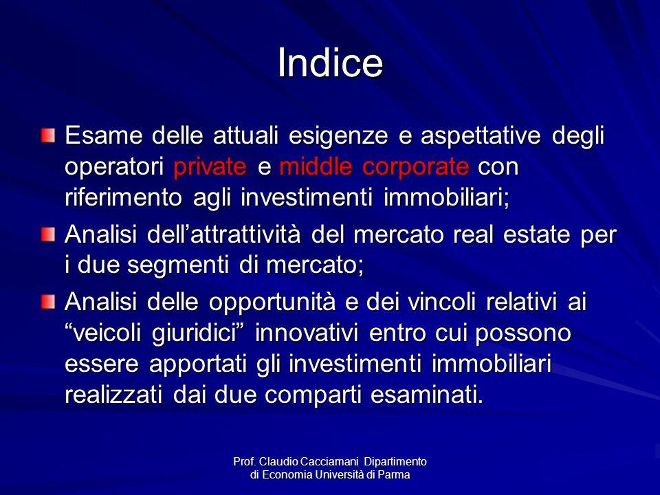 Prof. Claudio Cacciamani Dipartimento di Economia Università di Parma Indice Esame delle attuali esigenze e aspettative degli operatori private e midd