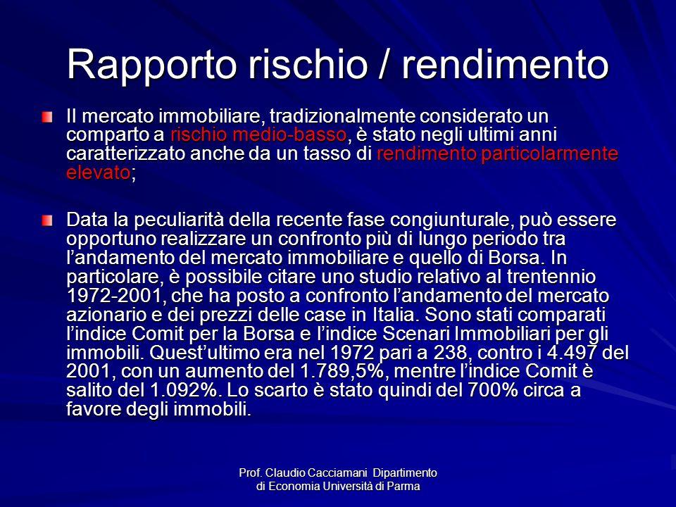 Prof. Claudio Cacciamani Dipartimento di Economia Università di Parma Rapporto rischio / rendimento Il mercato immobiliare, tradizionalmente considera