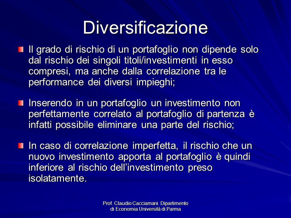 Prof. Claudio Cacciamani Dipartimento di Economia Università di Parma Diversificazione Il grado di rischio di un portafoglio non dipende solo dal risc