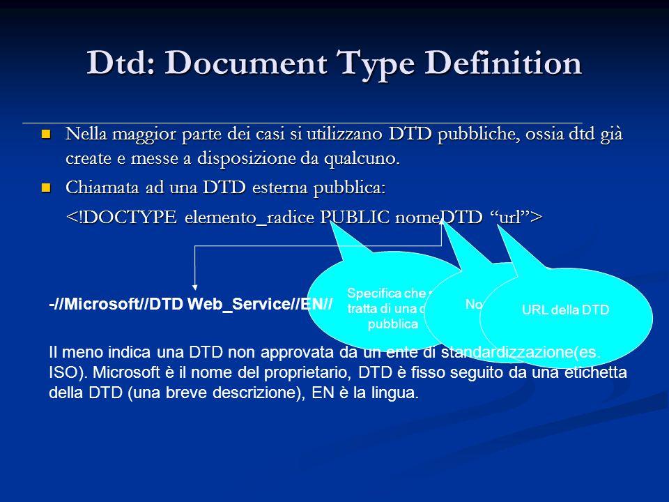 Dtd: Document Type Definition Nella maggior parte dei casi si utilizzano DTD pubbliche, ossia dtd già create e messe a disposizione da qualcuno.