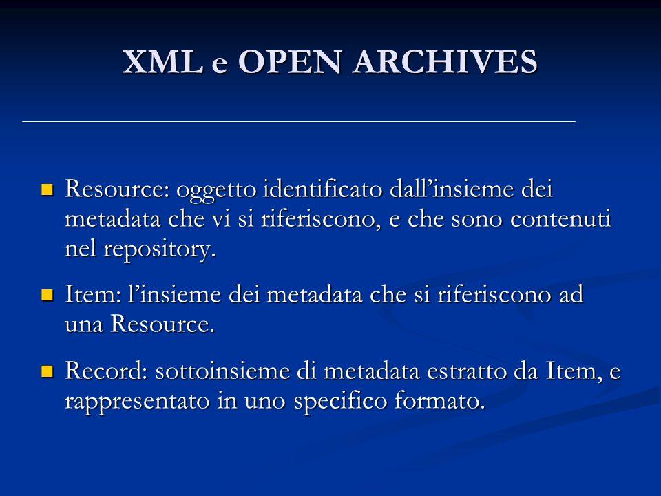 XML e OPEN ARCHIVES Resource: oggetto identificato dall'insieme dei metadata che vi si riferiscono, e che sono contenuti nel repository.