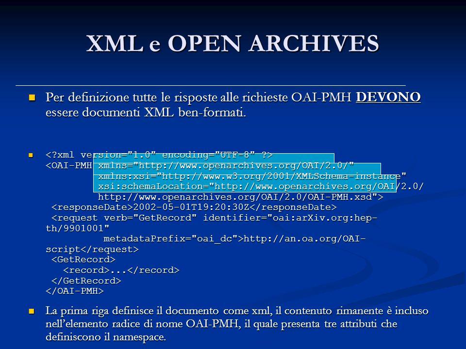XML e OPEN ARCHIVES Per definizione tutte le risposte alle richieste OAI-PMH DEVONO essere documenti XML ben-formati.