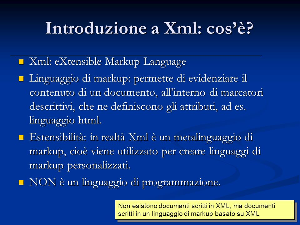Introduzione a Xml: cos'è.