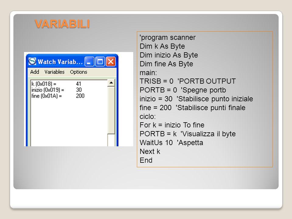 VARIABILI program scanner Dim k As Byte Dim inizio As Byte Dim fine As Byte main: TRISB = 0 PORTB OUTPUT PORTB = 0 Spegne portb inizio = 30 Stabilisce punto iniziale fine = 200 Stabilisce punti finale ciclo: For k = inizio To fine PORTB = k Visualizza il byte WaitUs 10 Aspetta Next k End