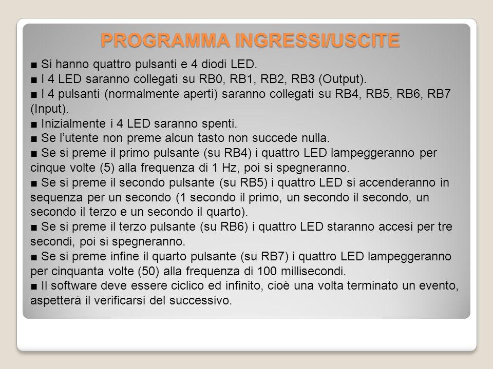 PROGRAMMA INGRESSI/USCITE ■ Si hanno quattro pulsanti e 4 diodi LED.