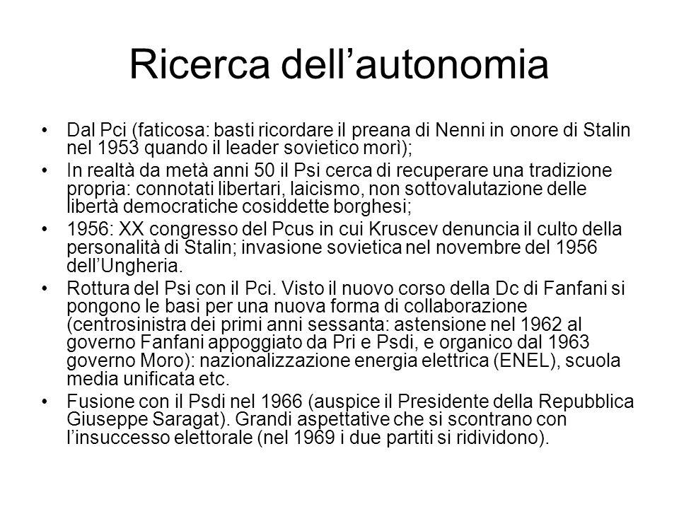 Ricerca dell'autonomia Dal Pci (faticosa: basti ricordare il preana di Nenni in onore di Stalin nel 1953 quando il leader sovietico morì); In realtà d