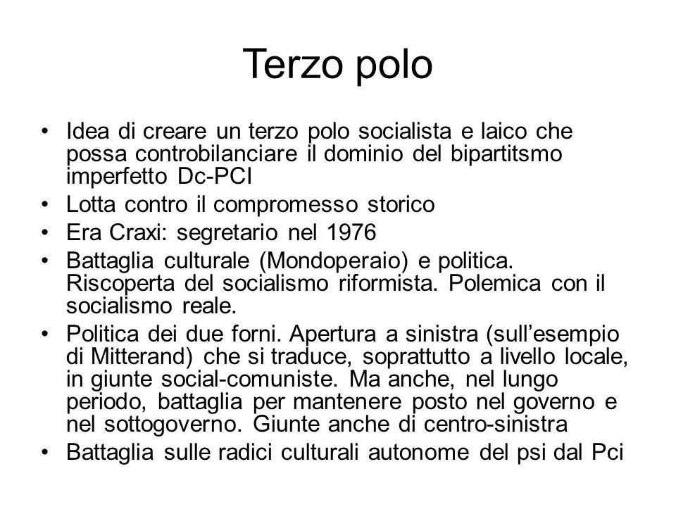 Terzo polo Idea di creare un terzo polo socialista e laico che possa controbilanciare il dominio del bipartitsmo imperfetto Dc-PCI Lotta contro il com