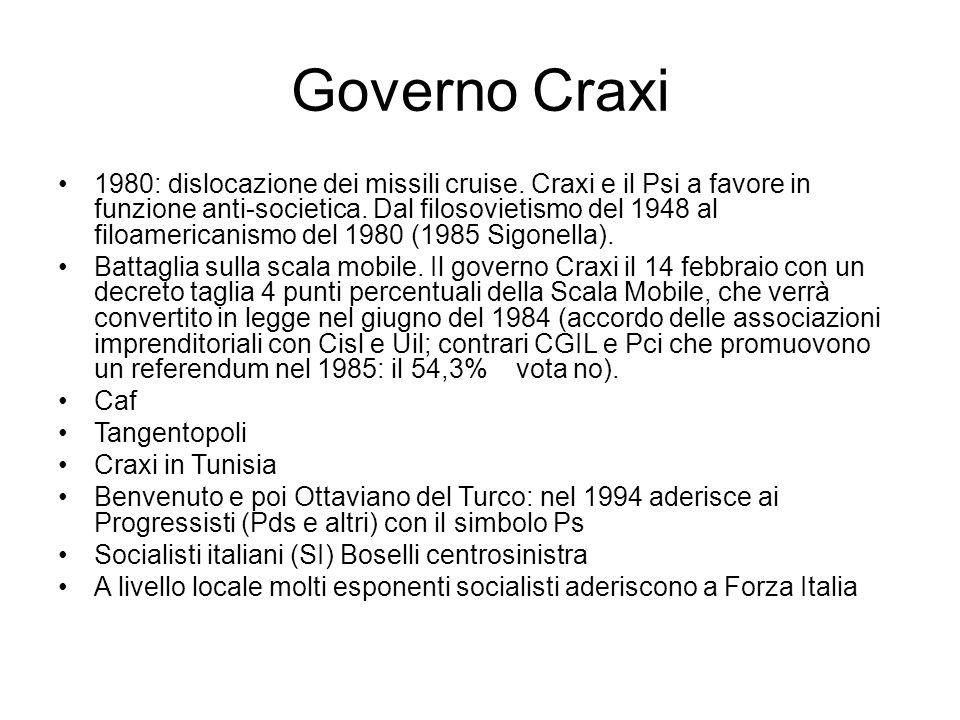 Governo Craxi 1980: dislocazione dei missili cruise. Craxi e il Psi a favore in funzione anti-societica. Dal filosovietismo del 1948 al filoamericanis