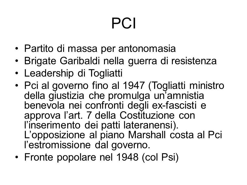 PCI Partito di massa per antonomasia Brigate Garibaldi nella guerra di resistenza Leadership di Togliatti Pci al governo fino al 1947 (Togliatti minis