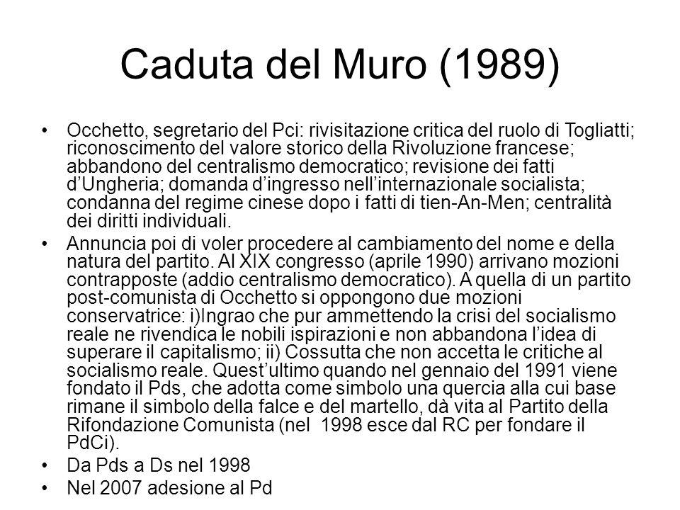 Caduta del Muro (1989) Occhetto, segretario del Pci: rivisitazione critica del ruolo di Togliatti; riconoscimento del valore storico della Rivoluzione