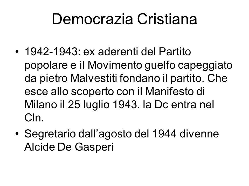 Democrazia Cristiana 1942-1943: ex aderenti del Partito popolare e il Movimento guelfo capeggiato da pietro Malvestiti fondano il partito. Che esce al