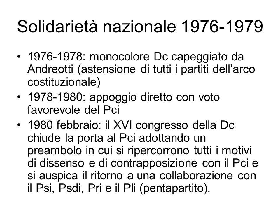 Solidarietà nazionale 1976-1979 1976-1978: monocolore Dc capeggiato da Andreotti (astensione di tutti i partiti dell'arco costituzionale) 1978-1980: a