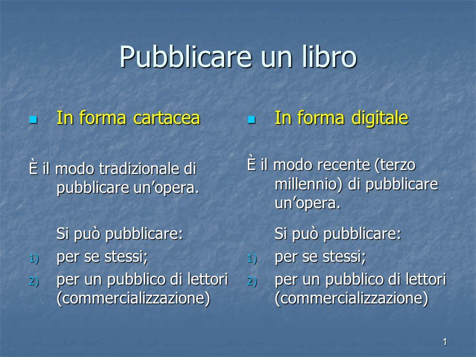 1 Pubblicare un libro In forma cartacea In forma cartacea È il modo tradizionale di pubblicare un'opera.