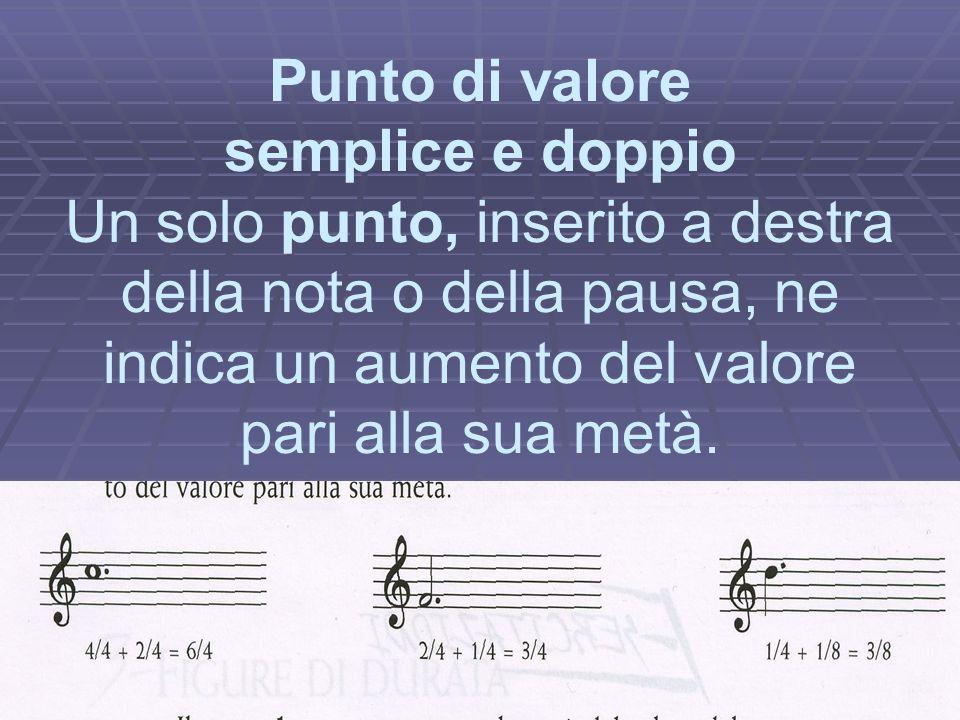 Legatura di valore La legatura di valore è una linea curva che unisce due o più note della stessa altezza, sommandone il valore.