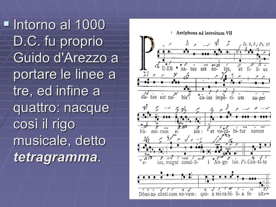   Successivamente (intorno all'anno Mille), Guido d'Arezzo propose l'uso di tre o quattro linee orizzontali, mentre il pentagramma così come lo cono
