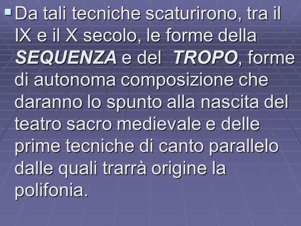  il monaco Tutilone adotta la tecnica detta tropatura consistente nell'aggiunta di testi e melodie all'interno di canti preesistenti.