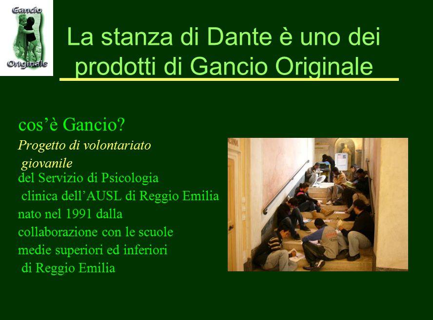 La stanza di Dante è uno dei prodotti di Gancio Originale cos'è Gancio? Progetto di volontariato giovanile del Servizio di Psicologia clinica dell'AUS