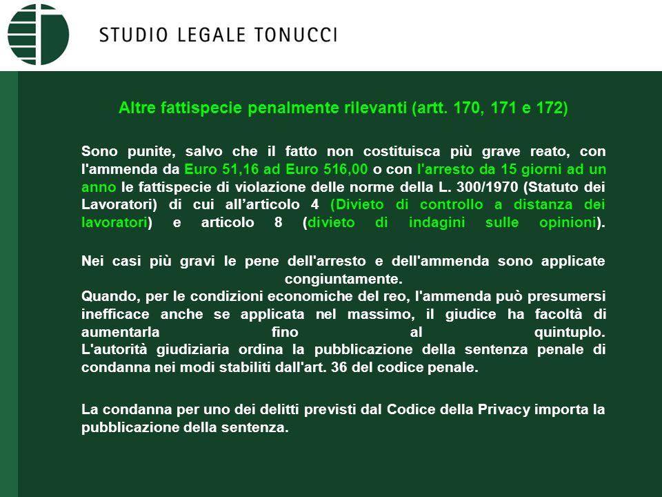Altre fattispecie penalmente rilevanti (artt. 170, 171 e 172) Sono punite, salvo che il fatto non costituisca più grave reato, con l'ammenda da Euro 5