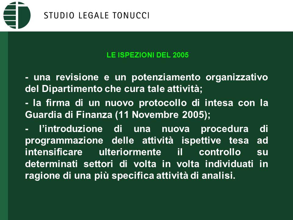 LE ISPEZIONI DEL 2005 - una revisione e un potenziamento organizzativo del Dipartimento che cura tale attività; - la firma di un nuovo protocollo di i