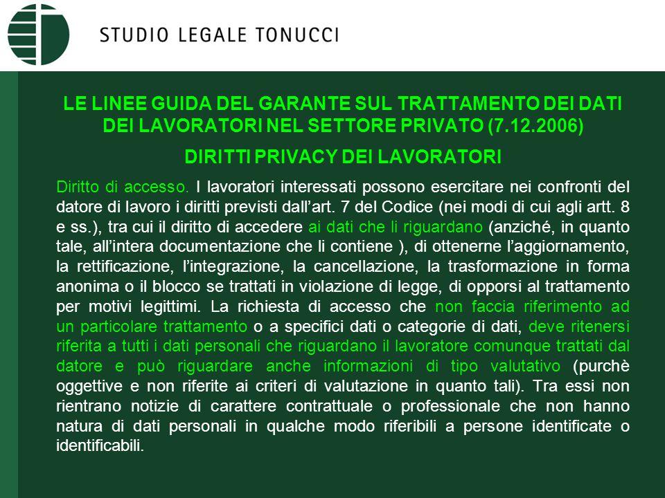 LE LINEE GUIDA DEL GARANTE SUL TRATTAMENTO DEI DATI DEI LAVORATORI NEL SETTORE PRIVATO (7.12.2006) DIRITTI PRIVACY DEI LAVORATORI Diritto di accesso.