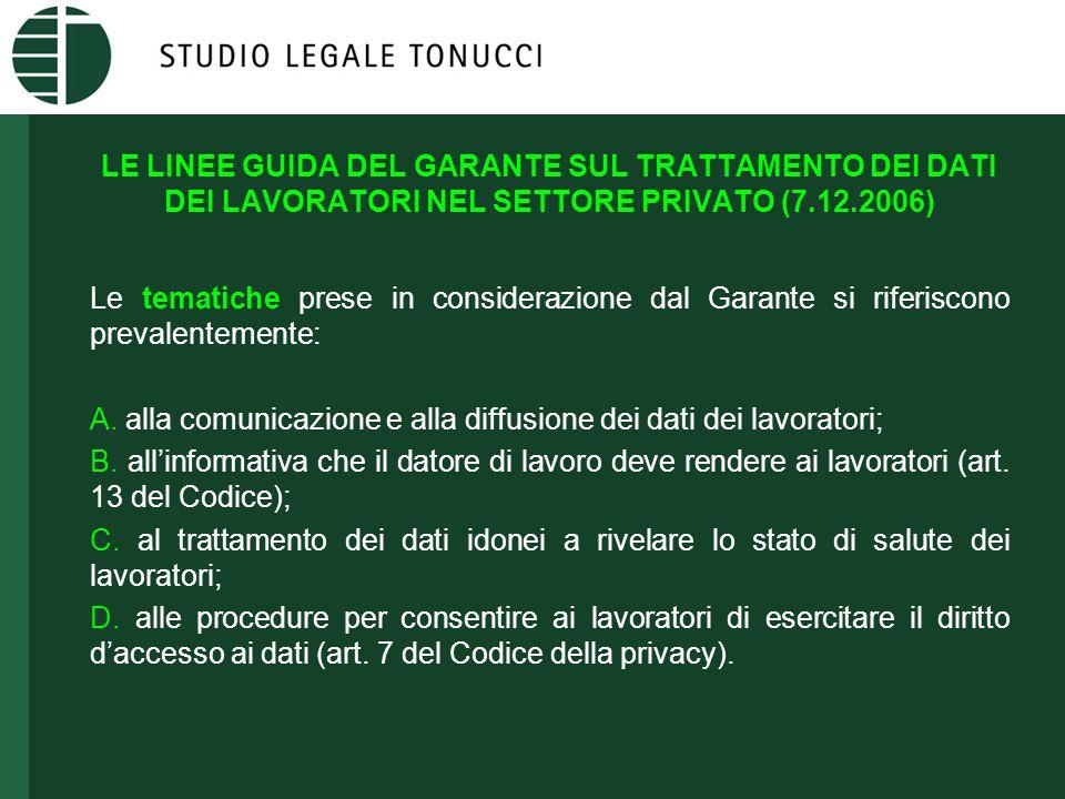 LE LINEE GUIDA DEL GARANTE SUL TRATTAMENTO DEI DATI DEI LAVORATORI NEL SETTORE PRIVATO (7.12.2006) Le tematiche prese in considerazione dal Garante si