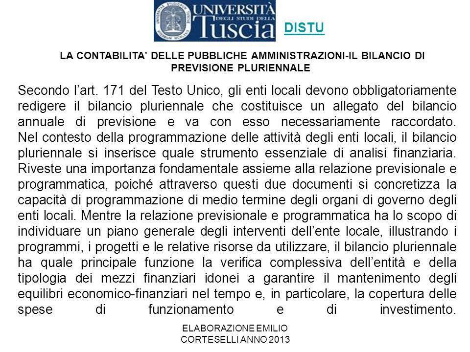 ELABORAZIONE EMILIO CORTESELLI ANNO 2013 Secondo l'art. 171 del Testo Unico, gli enti locali devono obbligatoriamente redigere il bilancio pluriennale