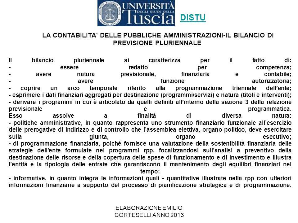 ELABORAZIONE EMILIO CORTESELLI ANNO 2013 Il bilancio pluriennale si caratterizza per il fatto di: - essere redatto per competenza; - avere natura prev